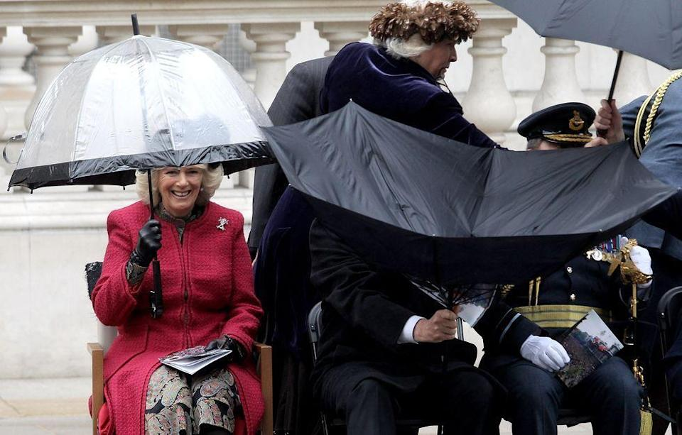 <p>Camilla reacts as anyone would when politician Bob Ainsworth failed to properly operate his umbrella.<br></p>