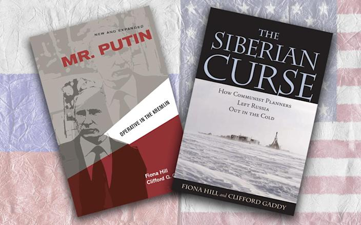 """Book covers of """"Mr. Putin: Operative in the Kremlin""""and """"The Siberian Curse"""" by Fiona Hill and Clifford Gaddy (Photos: Brookings Institution Press)"""