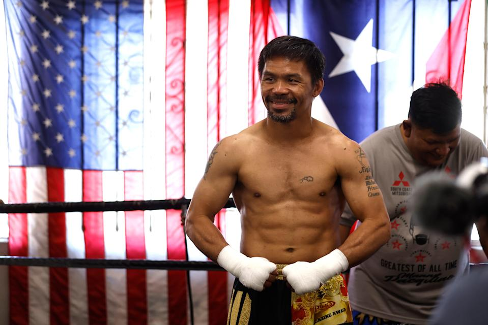 Manny Pacquiao poses for media at Wild Card Boxing Club on August 04, 2021 in Los Angeles, California ahead of his fight.
