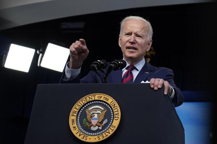 President Joe Biden will speak at an event on the American Jobs Plan at the South Court Auditorium on the White House campus in Washington, Wednesday, April 7, 2021.  (AP photo / Evan Vucci)