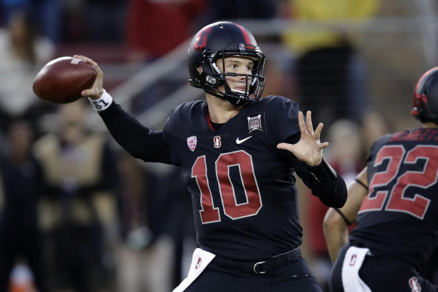 Stanford quarterback Jack West throws a pass during the first half of the team's NCAA college football game against UCLA on Thursday, Oct. 17, 2019, in Stanford, Calif. (AP Photo/Ben Margot)