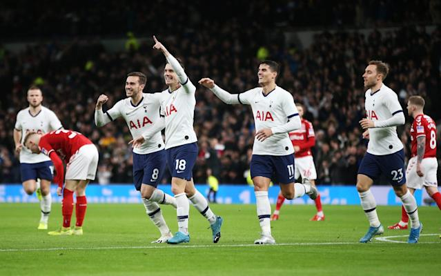 Giovani Lo Celso celebrates giving Spurs an early lead after a big mistake by goalkeeper Tomas Mejia - Tottenham Hotspur FC