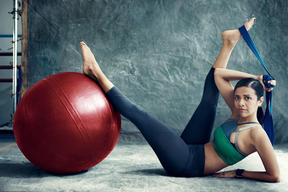 "<h1 class=""title"">ON THE BALLRUPA MEHTA'S WORKOUT USES FAMILIAR PROPS IN NEW WAYS. VPL BY VICTORIA BARTLETT BRA, BATHING SUIT, AND LEGGINGS.</h1> <cite class=""credit"">Photographed by Norman Jean Roy, <em>Vogue</em>, April 2012</cite>"