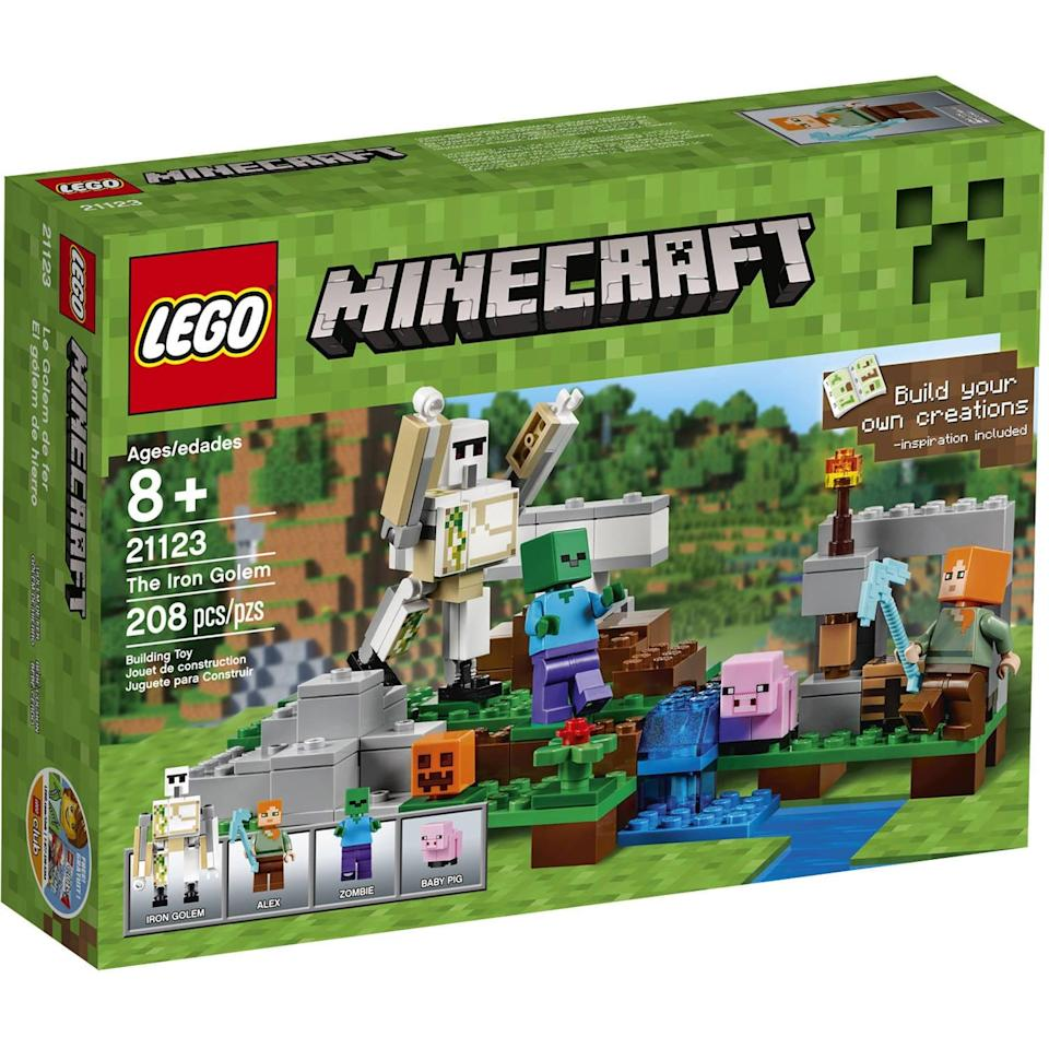"""<p>Bring your child's favorite virtual game to physical play with the new <a href=""""https://www.popsugar.com/buy/Lego-Minecraft-Iron-Golem-568691?p_name=Lego%20Minecraft%20The%20Iron%20Golem&retailer=amazon.com&pid=568691&price=36&evar1=moms%3Aus&evar9=25997679&evar98=https%3A%2F%2Fwww.popsugar.com%2Fphoto-gallery%2F25997679%2Fimage%2F46685500%2FLego-Minecraft-Iron-Golem&list1=holiday%2Cgift%20guide%2Ckid%20shopping%2Choliday%20living%2Choliday%20for%20kids&prop13=api&pdata=1"""" class=""""link rapid-noclick-resp"""" rel=""""nofollow noopener"""" target=""""_blank"""" data-ylk=""""slk:Lego Minecraft The Iron Golem"""">Lego Minecraft The Iron Golem </a> ($36), which includes key biomes and characters from the online universe.</p>"""
