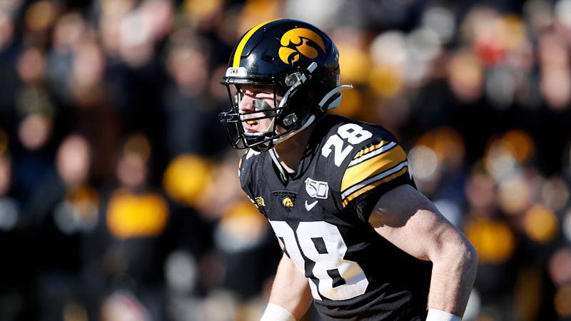 Iowa defensive back Jack Koerner gets set for a play during the second half of an NCAA college football game against Illinois, Saturday, Nov. 23, 2019, in Iowa City, Iowa. (AP Photo/Charlie Neibergall)