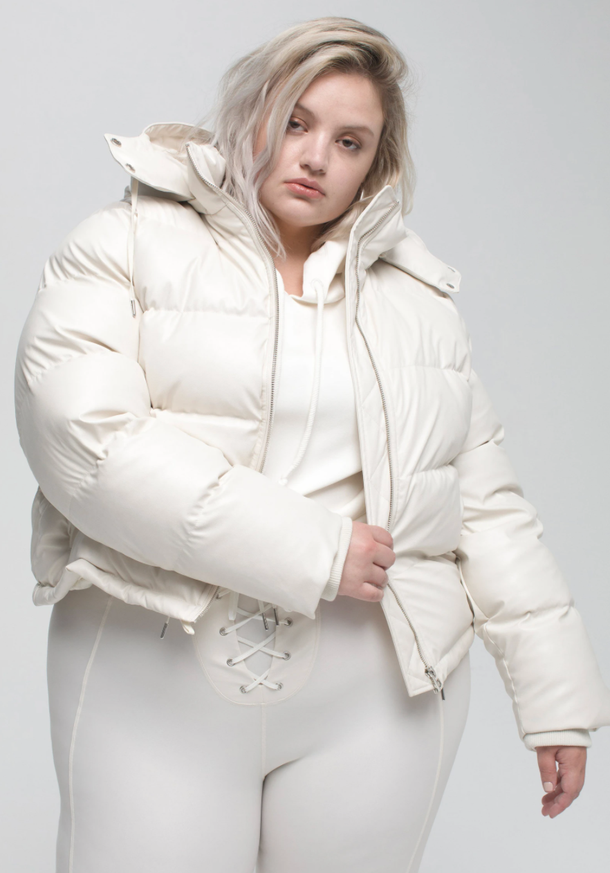 Good American Faux Leather Puffer Jacket in Bone (Photo via Nordstrom)