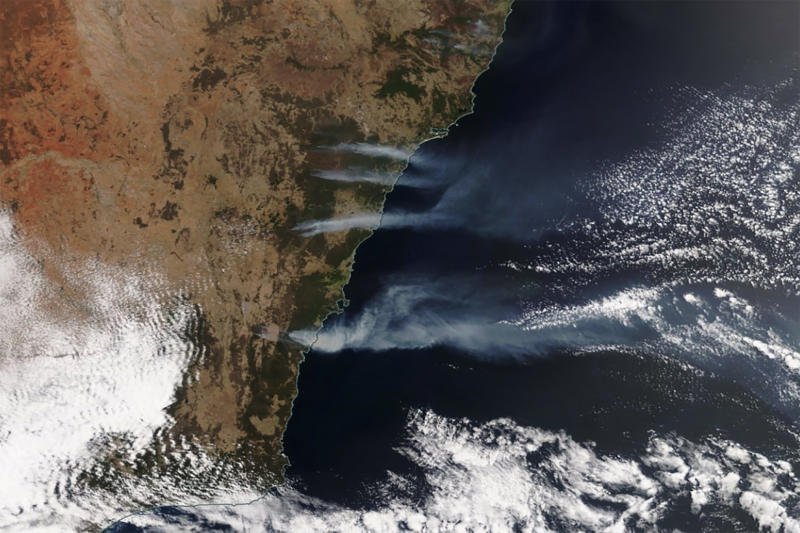 A supplied image from a NASA Worldview Satellite, showing smoke from the current New South Wales bushfires.