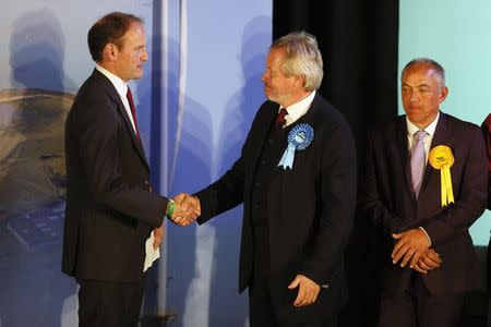 United Kingdom Independence Party (UKIP) candidate Douglas Carswell (L) is congratulated by the Conservative Party candidate Giles Watling (C) after winning the by-election in Clacton-on-Sea in eastern England October 10, 2014. REUTERS/Stefan Wermuth