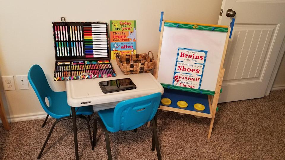 """<p>Our playroom seemed like a logical choice to me, so that my kids are able to take breaks in a familiar and comfortable space. <a href=""""https://www.popsugar.com/family/why-you-should-homeschool-in-morning-47403762"""" class=""""link rapid-noclick-resp"""" rel=""""nofollow noopener"""" target=""""_blank"""" data-ylk=""""slk:They have recess/playtime midmorning"""">They have recess/playtime midmorning</a>, and they are encouraged to play imaginative games with their toys rather than staying on their screens. I try to keep everything they need for home learning in one accessible location.</p>"""