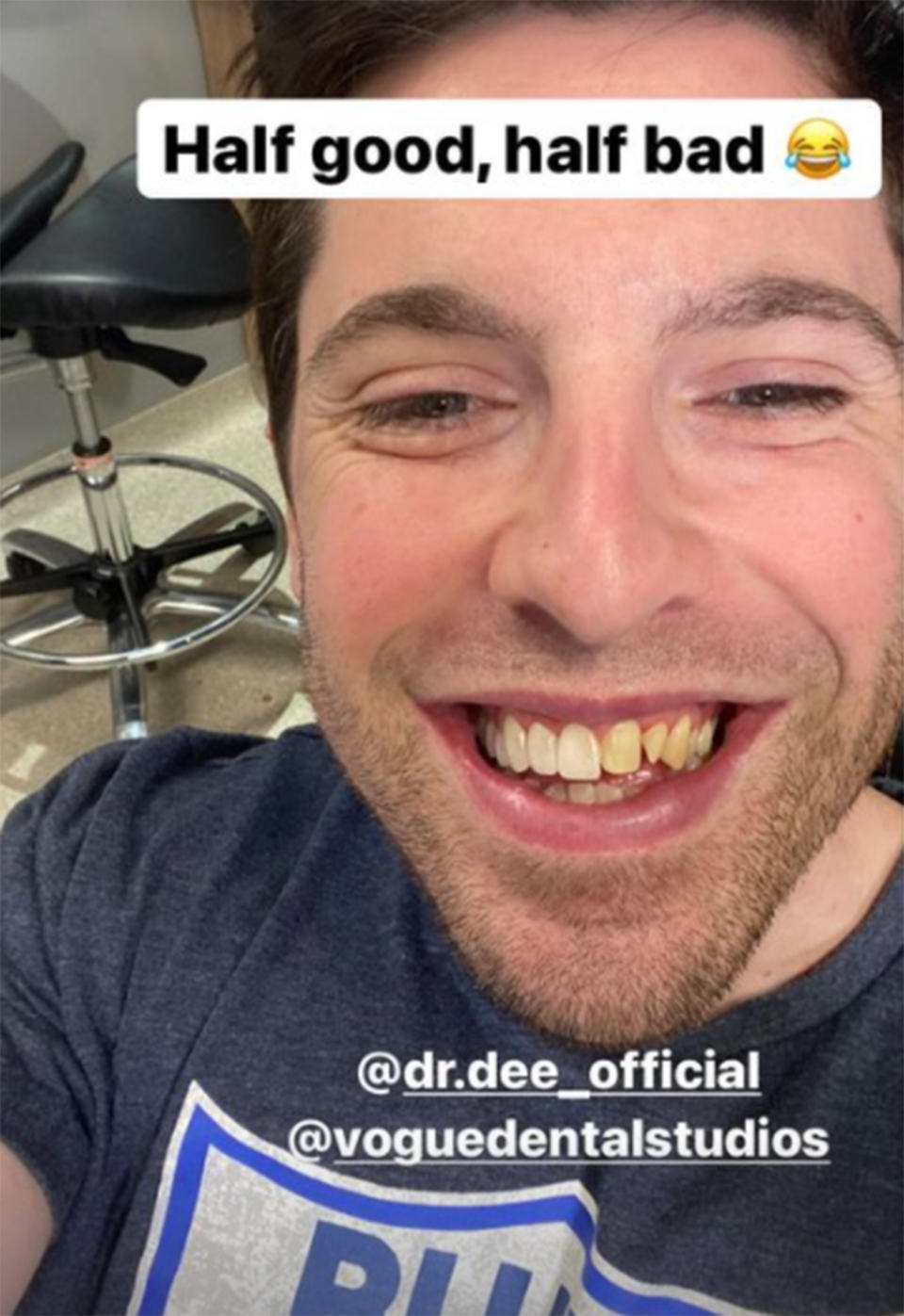 A selfie of Married At First Sight's Patrick Dwyer mid-way through his veneers fitting