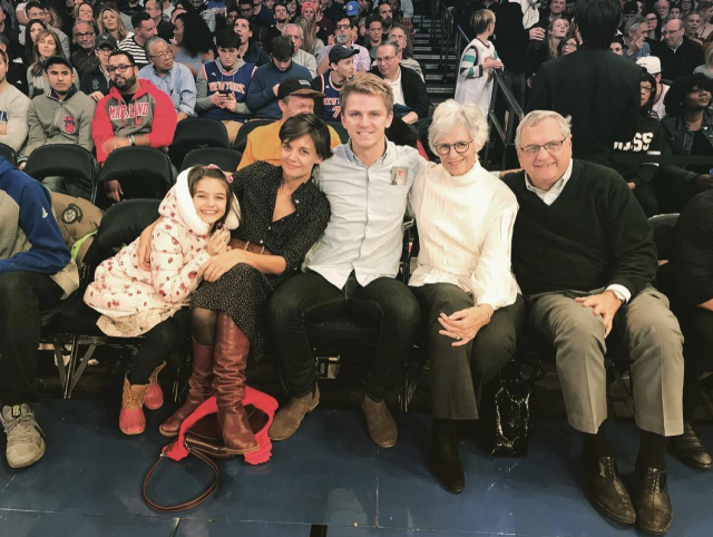 "<p>The actress had a ball with her daughter, Suri, her parents, and her brother, as the whole clan sat courtside at Madison Square Garden to watch the New York Knicks take down the Oklahoma City Thunder on Saturday night. ""Go Knicks! #msg #family,"" Holmes wrote. (Photo: <a href=""https://www.instagram.com/p/Bcz0J4bBrgX/?taken-by=katieholmes212"" rel=""nofollow noopener"" target=""_blank"" data-ylk=""slk:Katie Holmes via Instagram"" class=""link rapid-noclick-resp"">Katie Holmes via Instagram</a>) </p>"