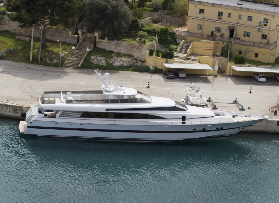 Spanish King Juan Carlos' yatch Foners, formerly Fortuna, is docked at the military base at Porto Pi in Palma de Mallorca on March 27, 2014. The vessel will be moved to Adriano port on the Mallorca Island for exhibition and sale. AFP PHOTO / JAIME REINA (Photo by Jaime REINA / AFP) (Photo by JAIME REINA/AFP via Getty Images)