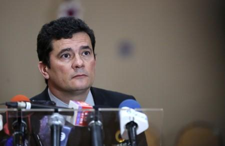 Brazil's Justice Minister Sergio Moro attends a news conference in Manaus