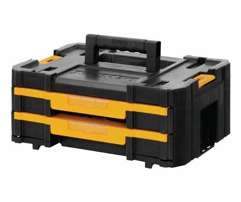 """<p><strong>Dewalt</strong></p><p>amazon.com</p><p><strong>$72.50</strong></p><p><a href=""""https://www.amazon.com/dp/B00BPI1TWO?tag=syn-yahoo-20&ascsubtag=%5Bartid%7C10060.g.37199021%5Bsrc%7Cyahoo-us"""" rel=""""nofollow noopener"""" target=""""_blank"""" data-ylk=""""slk:Buy Now"""" class=""""link rapid-noclick-resp"""">Buy Now</a></p><p><strong>• Type of Organizer: </strong>Self-contained <br>• <strong>Material: </strong>Plastic</p><p>This two-drawer unit features shallow drawers that can keep all of your small items secure and organized, and the removable dividers let you configure it to your needs. Part of <a href=""""https://www.amazon.com/dewalt-tstak/s?k=dewalt+tstak&tag=syn-yahoo-20&ascsubtag=%5Bartid%7C10060.g.37199021%5Bsrc%7Cyahoo-us"""" rel=""""nofollow noopener"""" target=""""_blank"""" data-ylk=""""slk:DeWalt's TSTAK storage line"""" class=""""link rapid-noclick-resp"""">DeWalt's TSTAK storage line</a>, this can be combined with some of the other matching stackable organizers, allowing you to create your own customized tool storage system.<br></p>"""