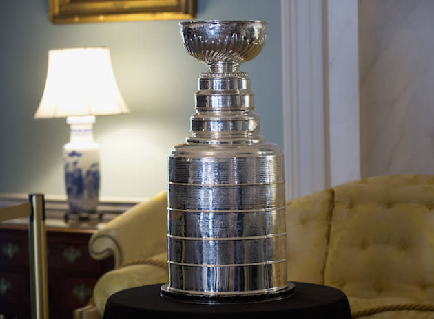 "The National Hockey Leagues's championship trophy, The Stanley Cup, currently held by the <a class=""link rapid-noclick-resp"" href=""/nhl/teams/chi/"" data-ylk=""slk:Chicago Blackhawks"">Chicago Blackhawks</a>, is displayed at the State Department in Washington, Thursday, March 10, 2016, during a luncheon reception hosted by Secretary of State John Kerry in honor the visiting Canadian Prime Minister Justin Trudeau. (AP Photo/Manuel Balce Ceneta)"