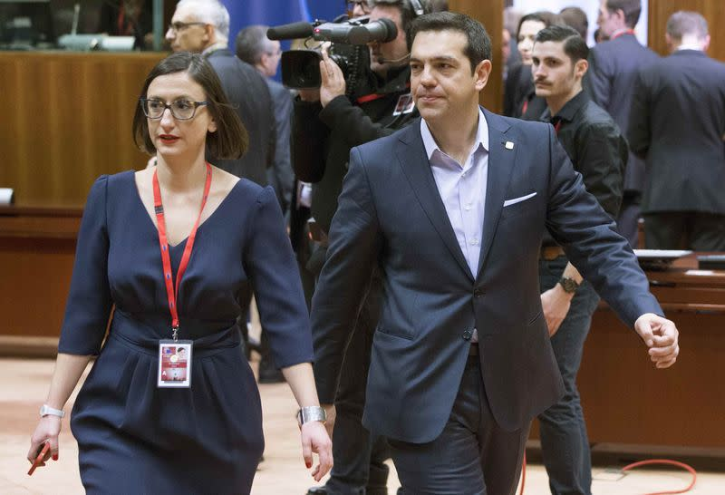 Greek Prime Minister Tsipras arrives at a European Union leaders summit in Brussels