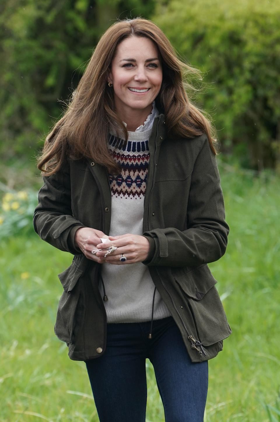 DARLINGTON, ENGLAND - APRIL 27:  Catherine, Duchess of Cambridge during a visit to Manor Farm in Little Stainton, Durham on April 27, 2021 in Darlington, England. (Photo by Owen Humphreys - WPA Pool/Getty Images)