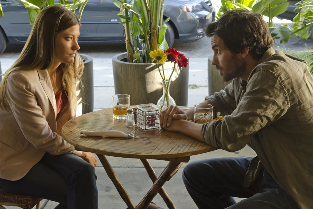 "Jennifer Carpenter as Debra Morgan and Santiago Cabrera as Sal in the ""Dexter"" episode, ""Chemistry."""