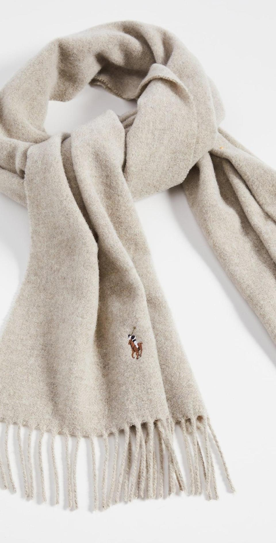 <p>This <span>Polo Ralph Lauren Signature Italian Virgin Wool Scarf</span> ($75) will literally feel like giving yourself a warm hug. It looks soft, cozy and comfortable to keep on all day.</p>