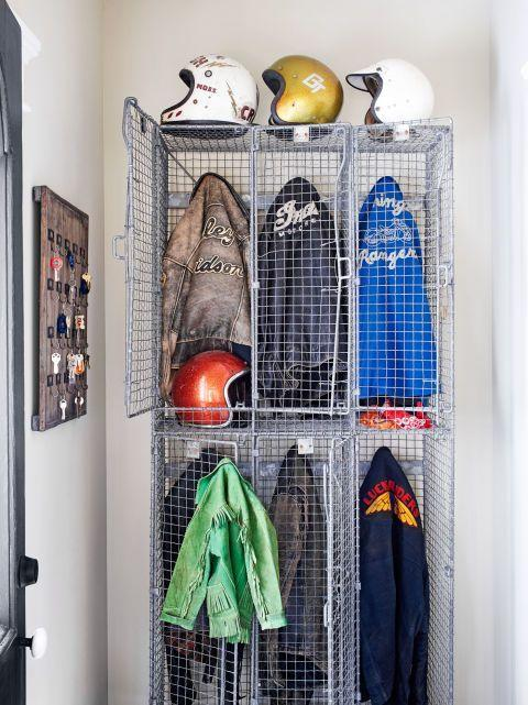 """<p>Invest in a few vintage factory storage lockers, and you'll be glad you did. They're an easy way to separate and store important pieces of clothing, not to mention sports equipment.</p><p><a class=""""body-btn-link"""" href=""""https://www.amazon.com/KOUSI-Portable-Organizer-Bookshelf-Transparent/dp/B01M6TWKNA?tag=syn-yahoo-20&ascsubtag=%5Bartid%7C10050.g.31140248%5Bsrc%7Cyahoo-us"""" target=""""_blank"""">SHOP STORAGE CUBES</a></p>"""