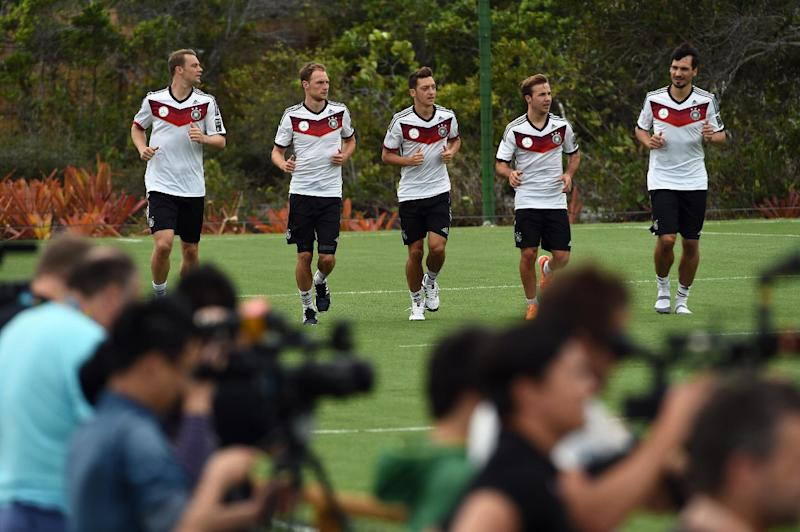 Germany's Manuel Neuer, Benedikt Hoewedes, Mesut Ozil, Mario Goetze and Mats Hummels, seen during a training session in Santo Andre, Brazil, during the FIFA World Cup, on June 22, 2014
