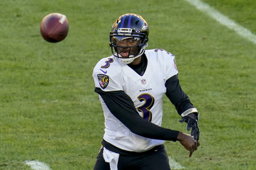 Baltimore Ravens quarterback Robert Griffin III (3) passes against the Pittsburgh Steelers in the first half during an NFL football game, Wednesday, Dec. 2, 2020, in Pittsburgh. (AP Photo/Gene J. Puskar)