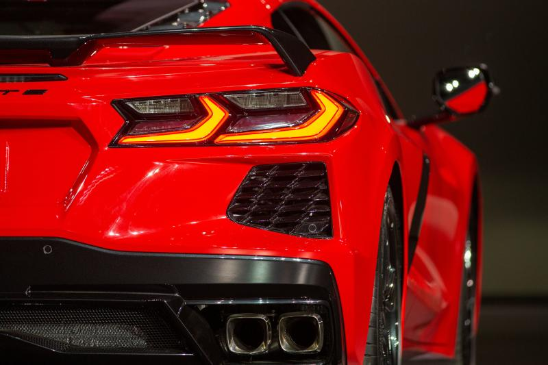 The new mid-engine 2020 Corvette Stingray is seen at the Next Generation Corvette Reveal event in Irvine, California on July 18, 2019. (Photo by DAVID MCNEW / AFP) (Photo credit should read DAVID MCNEW/AFP/Getty Images)