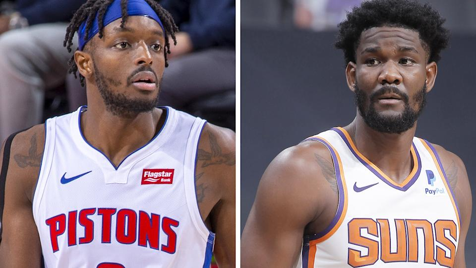 Detroit's Jerami Grant and Phoenix's Deandre Ayton have had contrasting starts to their NBA seasons. Pictures: Getty Images