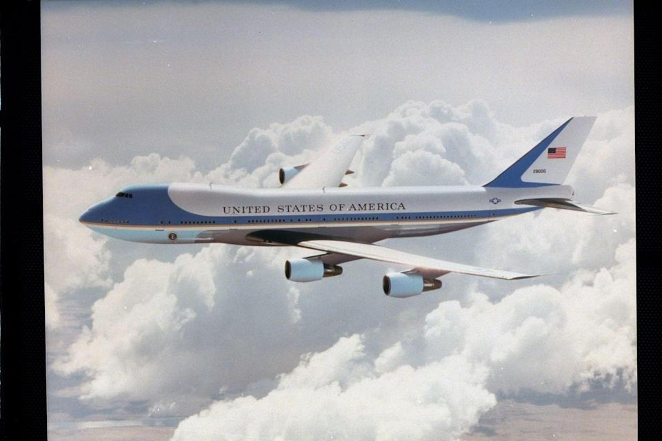 """<p>A pair of modified 747 airliners serve the U.S. Air Force as VC-25s. Each plane is <a href=""""https://www.af.mil/About-Us/Fact-Sheets/Display/Article/104588/vc-25-air-force-one/"""" rel=""""nofollow noopener"""" target=""""_blank"""" data-ylk=""""slk:fitted with an executive suite and office"""" class=""""link rapid-noclick-resp"""">fitted with an executive suite and office</a>, conference room, two galleys, and multiple seating sections. When the president is aboard either of the VC-25 aircrafts, its radio call sign becomes """"Air Force One.""""</p>"""