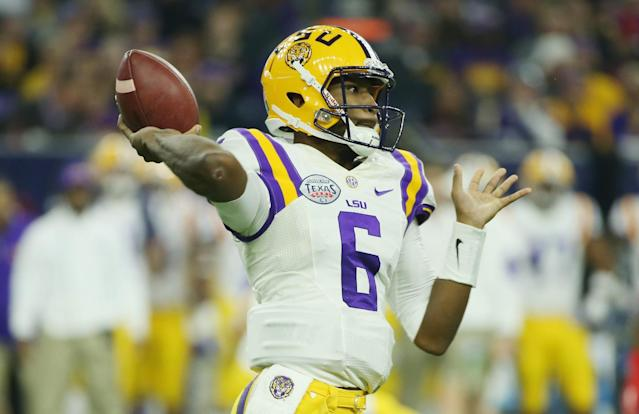 Harris has thrown for nearly 2,800 yards in parts of three seasons at LSU. (Getty)
