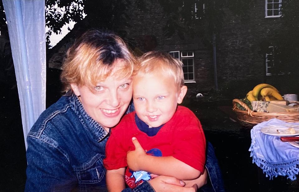 A cuddle with Joe when he was little.