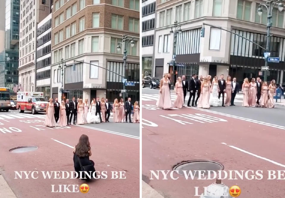 Image of New York non-social distanced wedding party of 19 blocking ambulance and traffic on Fifth Avenue