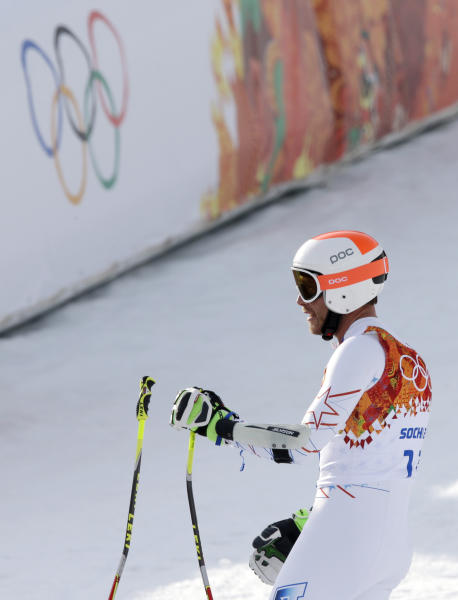 United States' Bode Miller pauses after his run in the men's super-G at the Sochi 2014 Winter Olympics, Sunday, Feb. 16, 2014, in Krasnaya Polyana, Russia. (AP Photo/Gero Breloer)