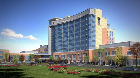 An artist's rendering of the University of Maryland Prince George's Medical Center which will be located in Largo, Maryland, U.S., is shown in this handout provided on March 21, 2017.  Courtesy of Prince George's Hospital/Handout via REUTERS