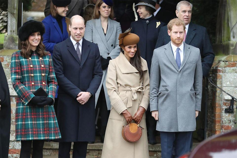 """<p>The Queen's Christmas celebration is traditionally reserved for true royals only, which meant Kate spent the holiday with her family before officially tying the knot with William. But Her Majesty seems to have made an exception for Meghan, <a href=""""https://www.mercurynews.com/2017/12/13/with-queen-elizabeths-christmas-invitation-meghan-markle-will-enjoy-a-perk-kate-middleton-didnt/"""" rel=""""nofollow noopener"""" target=""""_blank"""" data-ylk=""""slk:who joined the family during Christmas 2017"""" class=""""link rapid-noclick-resp"""">who joined the family during Christmas 2017</a>.</p>"""