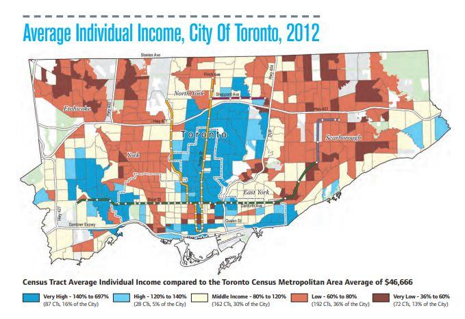 "This map of incomes in Toronto show the wealthy live in an ""upside down T"" that mirrors the city's cubway network and the locations of its shopping high streets. (Photo: Neighbourhood Change Research Partnership)"