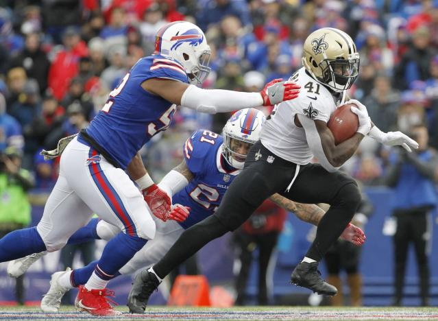 Can't catch me: Saints rookie Alvin Kamara (R) had 138 yards from scrimmage against Buffalo. (AP)