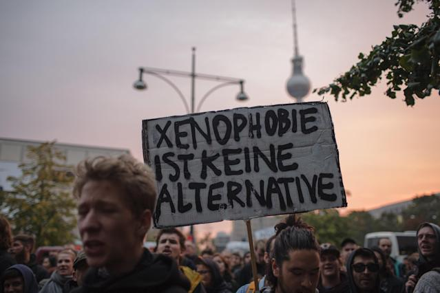 On Mondayin the cities of Berlin, Cologne and Hamburg, more than a thousand people protested inthe streets against the AfD. (NurPhoto via Getty Images)