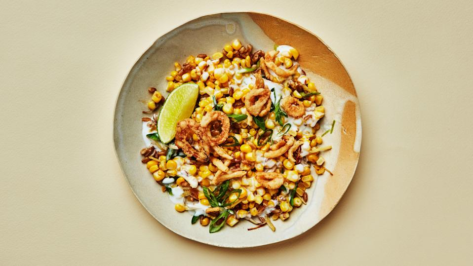 "Turmeric, chiles, and chewy-nutty cooked grains balance the sweetness of fresh corn in this loose vegan riff on creamed corn. This recipe is part of the Healthyish Farmers' Market Challenge. Get all 10 recipes <a href=""https://www.bonappetit.com/collection/healthyish-farmers-market-challenge-2019?mbid=synd_yahoo_rss"" rel=""nofollow noopener"" target=""_blank"" data-ylk=""slk:here"" class=""link rapid-noclick-resp"">here</a>. <a href=""https://www.bonappetit.com/recipe/creamed-corn-and-grains?mbid=synd_yahoo_rss"" rel=""nofollow noopener"" target=""_blank"" data-ylk=""slk:See recipe."" class=""link rapid-noclick-resp"">See recipe.</a>"