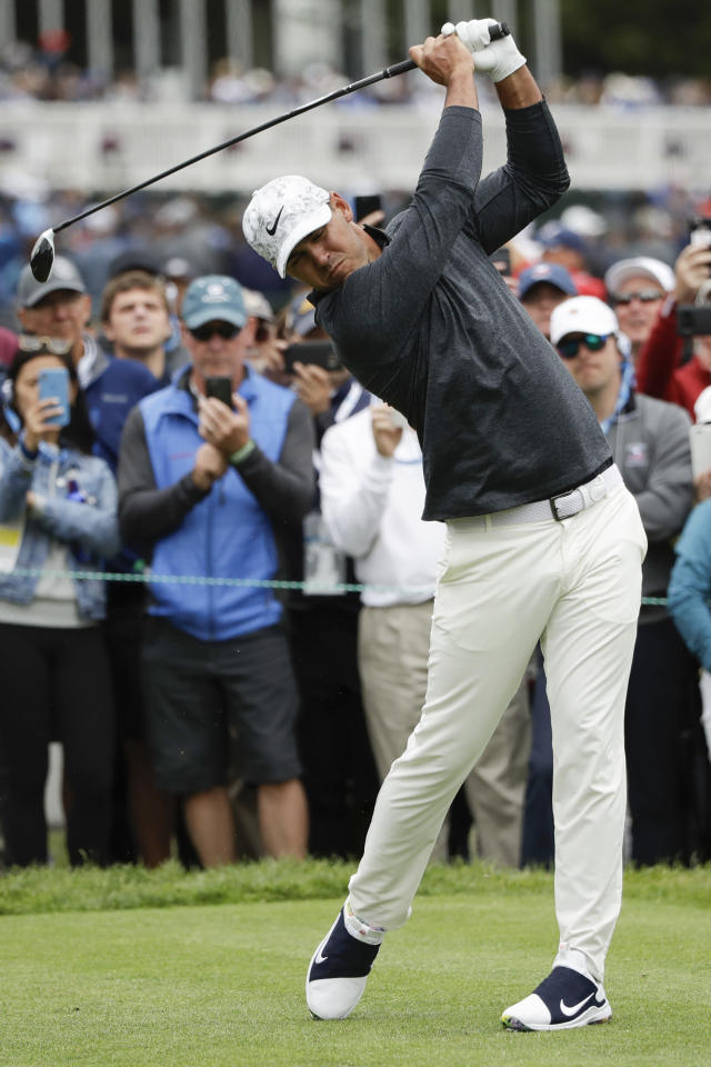 Brooks Koepka hits his tee shot on the third hole during the third round of the U.S. Open Championship golf tournament Saturday, June 15, 2019, in Pebble Beach, Calif. (AP Photo/Marcio Jose Sanchez)