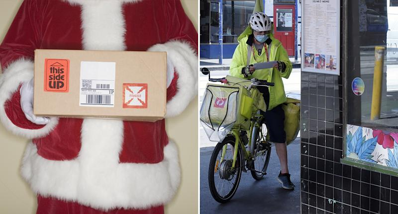 Santa holding a parcel and an Australia Post employee wearing a mask as they deliver mail.
