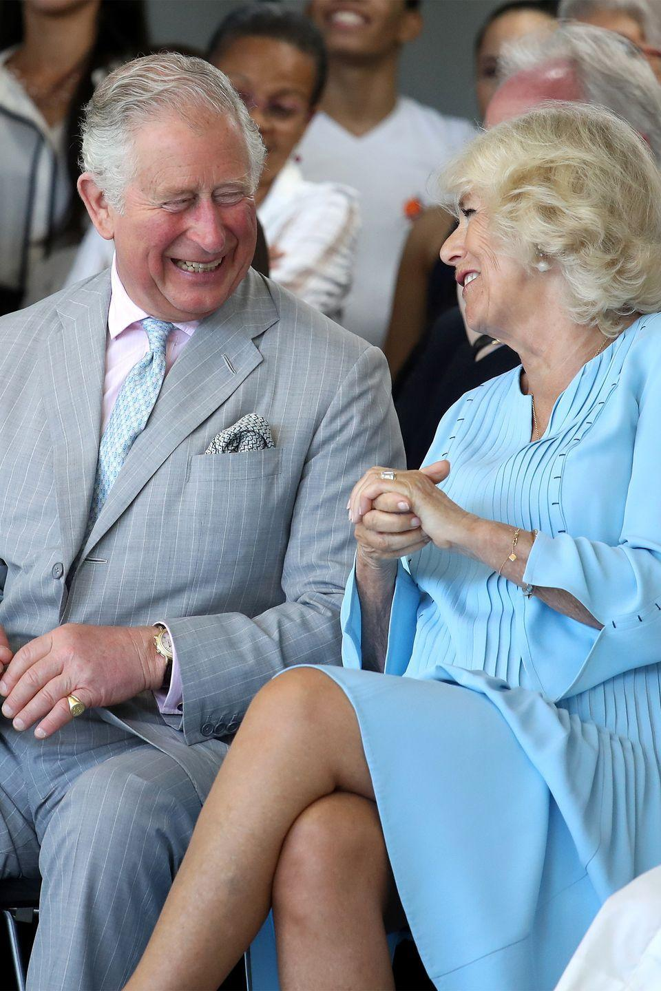 <p>Prince Charles laughs with Camilla, Duchess of Cornwall.</p>