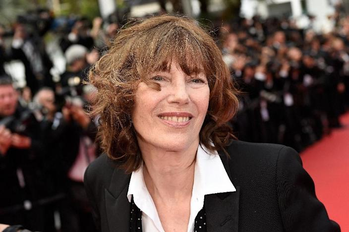 British actress and singer Jane Birkin poses as she arrives for the closing ceremony of the 68th Cannes Film Festival in Cannes, southeastern France, in 2015 (AFP Photo/LOIC VENANCE)