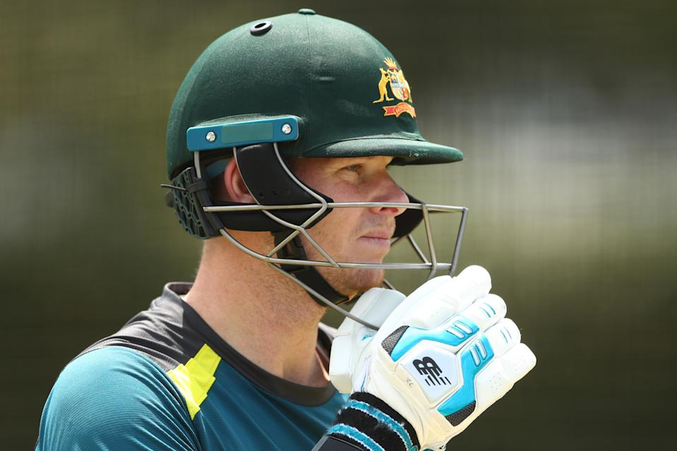 Steven Smith during training ahead of the GABBA Test.