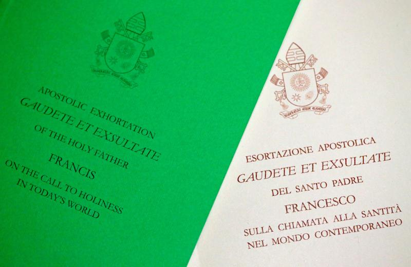 "A photo illustration of the papal document ""Gaudete et Exsultate"" (Rejoice and Be Glad). (Alessandro Bianchi/Illustration/Reuters)"