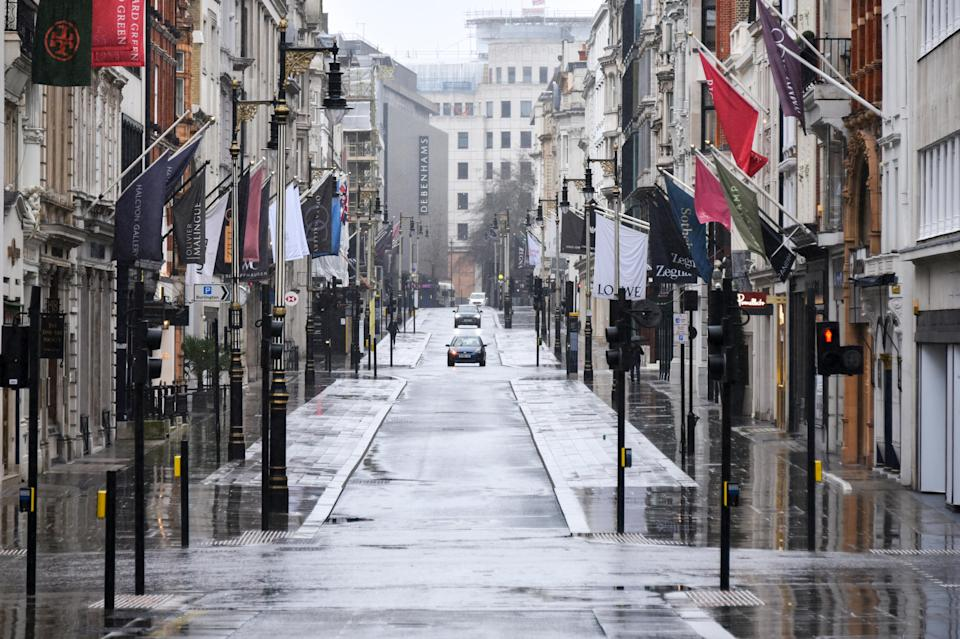 <p>General view of a deserted street in Mayfair, London, (stock image)</p> (AP)