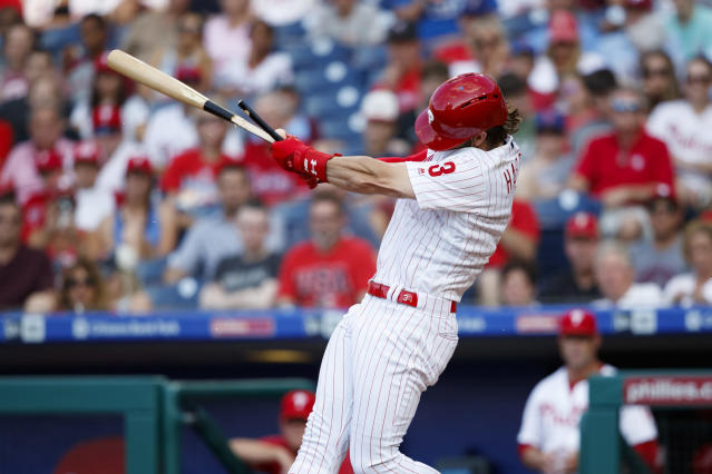 Philadelphia Phillies' Bryce Harper breaks his bat on an infield popout during the third inning of a baseball game against the Washington Nationals, Friday, July 12, 2019, in Philadelphia. (AP Photo/Matt Slocum)