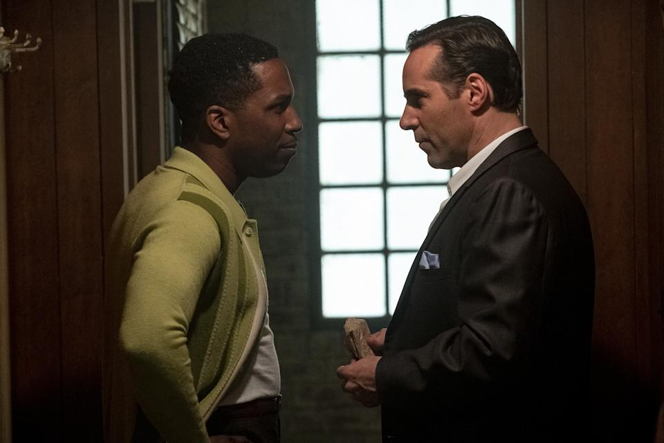 """Leslie Odom Jr. as Harold McBrayer and Alessandro Nivola as Dickie Moltisanti in New Line Cinema and Home Box Office's mob drama """"The Many Saints of Newark,"""" a Warner Bros. Pictures release. (Barry Wetcher/Warner Bros. Entertainment Inc.)"""