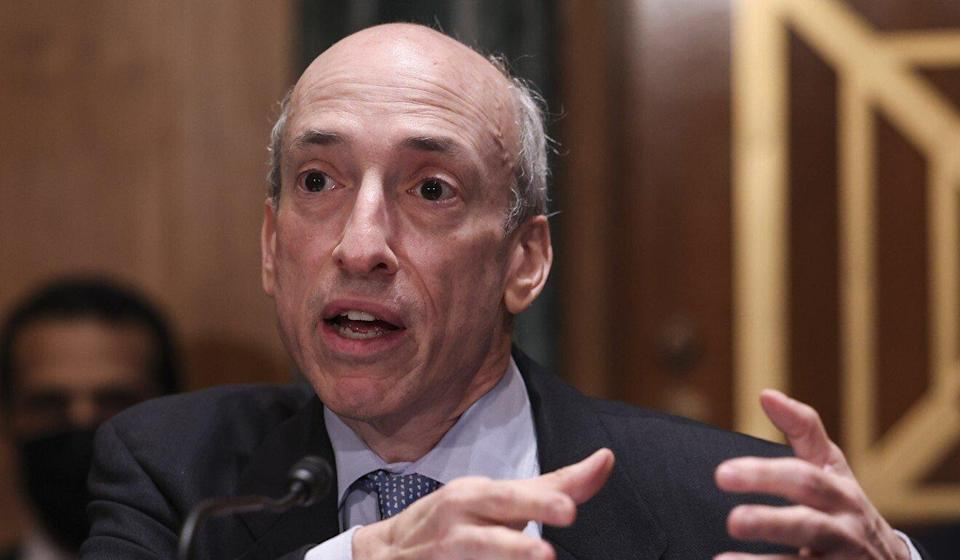 Gary Gensler, chairman of the US Securities and Exchange Commission (SEC), testifying at a Senate Banking, Housing, and Urban Affairs Committee hearing in Washington on September 14. Photo: EPA-EFE