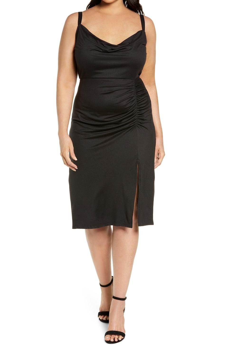 <p>Stepping out for an evening date? Don't leave this <span>Socialite Ruched Cowl Neck Body-Con Dress</span> ($41, originally $69) at home.</p>